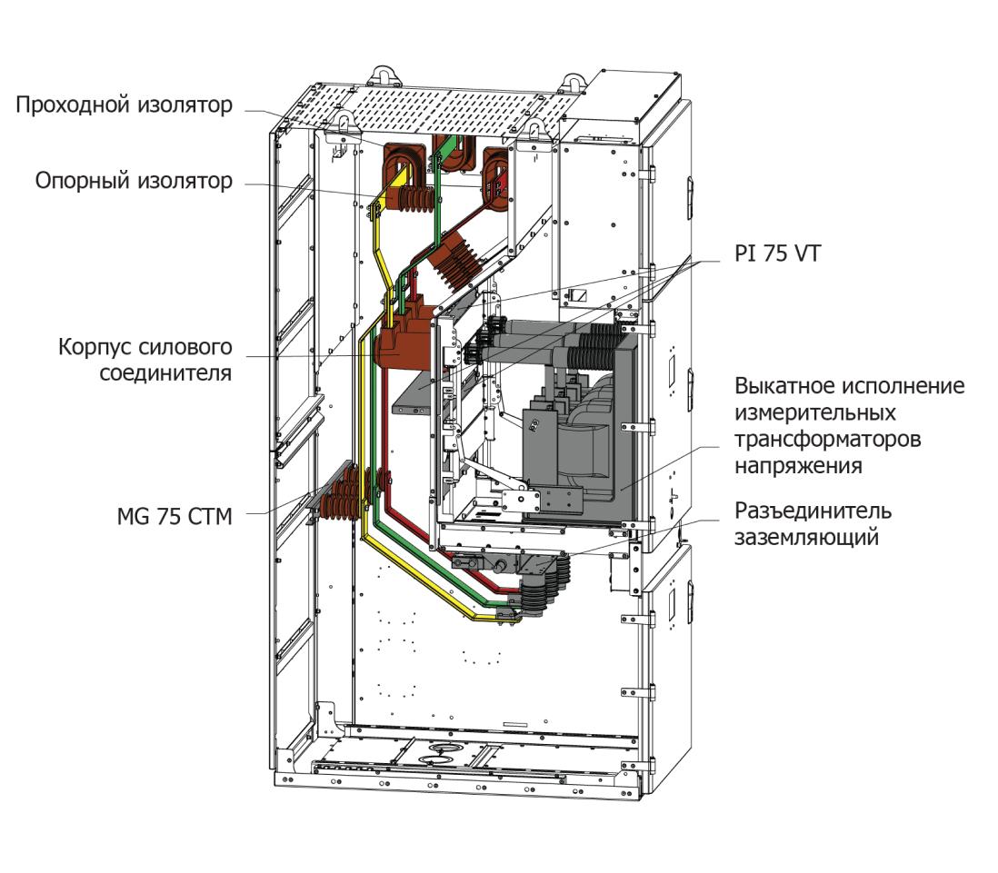 Комплектация корпуса HWM для исполнений (Трансформатор напряжения)